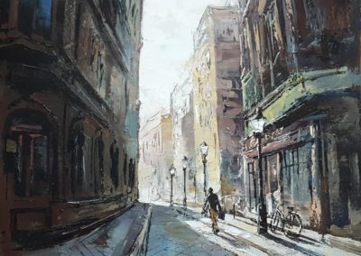 A street in Budapest ( Hungary), 50x50cm, oil on canvas