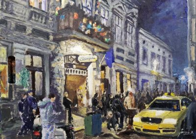 A wintery Budapest street with Christmas lanterns 53x73cm oil on woodboard