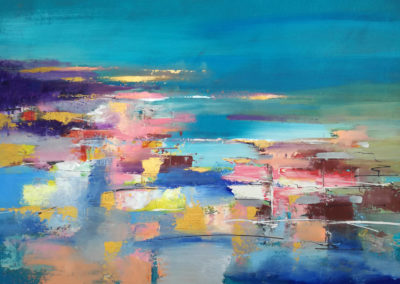 Abstract landscape in blue, 60x80cm