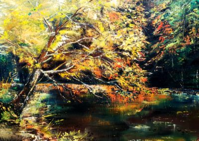 Autumn in the Agostyan arboretum ( Hungary) 30x40cm palletknife technique on canvas