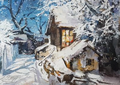 Before Christmas, oil on board, 40x50cm