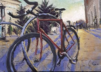 Bicycle at Astoria, oil, canvas, 50x70cm