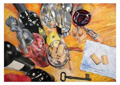 Composition with wine, corks and cellar key, 70x100 cm, akrilyc on board