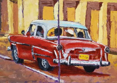Red car in Havanna, oil on canvas 2x40x40cm