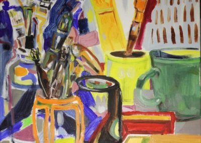 Still life with brushes oil on canvas 2018 40x40cm