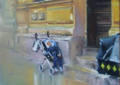 Waiting for mum 60x50cm oil on canvas