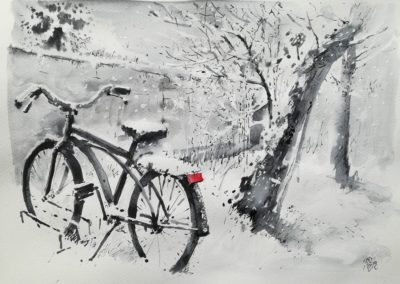 Winter mood with bike, 30x40cm, indian ink