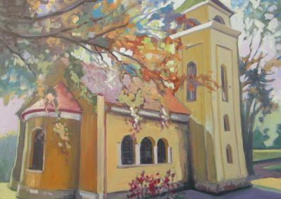 Afternoon lights, the protestant church in Babolna