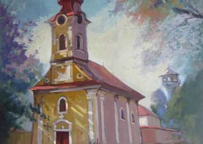 August morning lights, the Catholic church in Babolna, 70x60cm, oil on woodboard