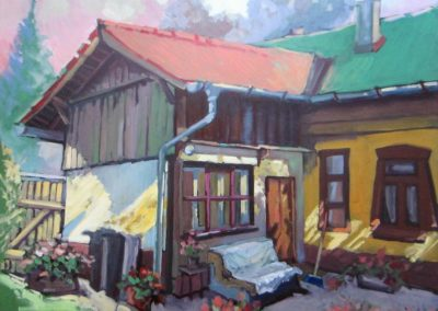 The house of Ildiko, oil on woodboard, 70x60cm